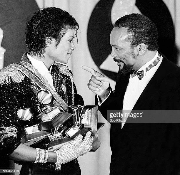 Michael Jackson and Quincy Jones with Grammy Awards Jackson won at the 26th Annual Grammy Awards February 28 1984 at the Shrine Auditorium in Los...