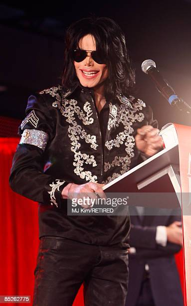 Michael Jackson announces plans for Summer residency at the O2 Arena at a press conference held at the O2 Arena on March 5 2009 in London England