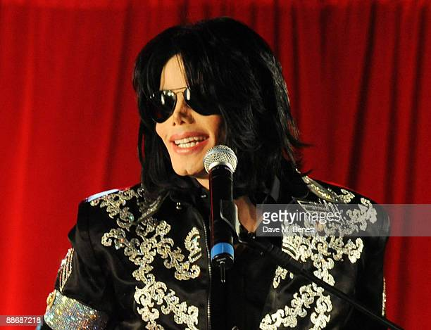 Michael Jackson announces plans for Summer residency at the O2 Arena at a press conference held at the O2 Arena on March 5 2009 in London England...