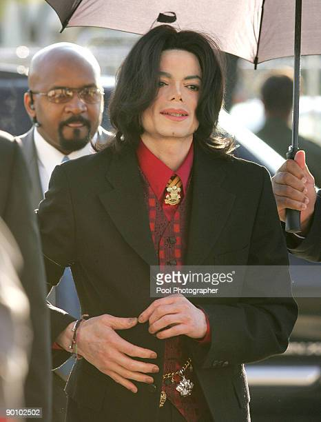 Michael Jackson arrives at Santa Barbara County Superior Court in Santa Maria, California, February 23, 2005. Jackson is back in court Wednesday for...