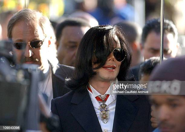 Michael Jackson arrives at the courthouse in Santa Maria Calif Friday morning Jan 16 for his arraignment on child molestation charges Jackson is...