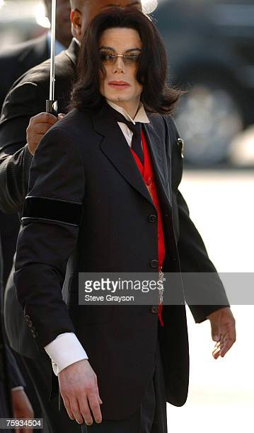 Michael Jackson arrives at the memorial service for Johnnie Cochran at West Angeles Cathederal in Los Angeles California April 6 2005