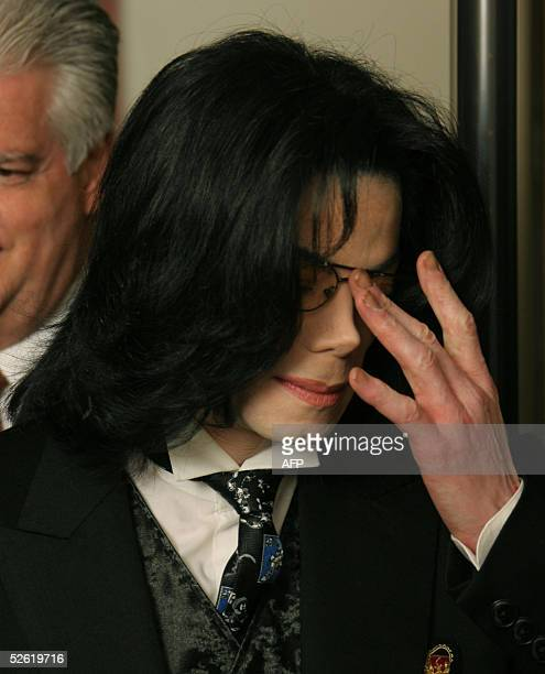 Michael Jackson arrives at the Santa Barbara County courthouse 12 April 2005 in Santa Maria California for his molestation trial The mother of the...