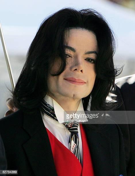 Michael Jackson arrives at the Santa Barbara County courthouse April 29 2005 in Santa Maria California Jackson is charged in a 10count indictment...