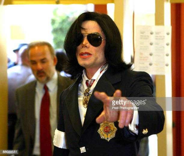 Michael Jackson arrives for his arraignment in Child Sex Case at the Santa Barbara County Courthouse January 16 Santa Maria CA Pool Photo by Kevork...