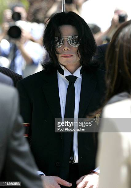 Michael Jackson arrives with his family for the verdict at his child molestation trial at Santa Barbara County Courthouse in Santa Maria June 13 2005...