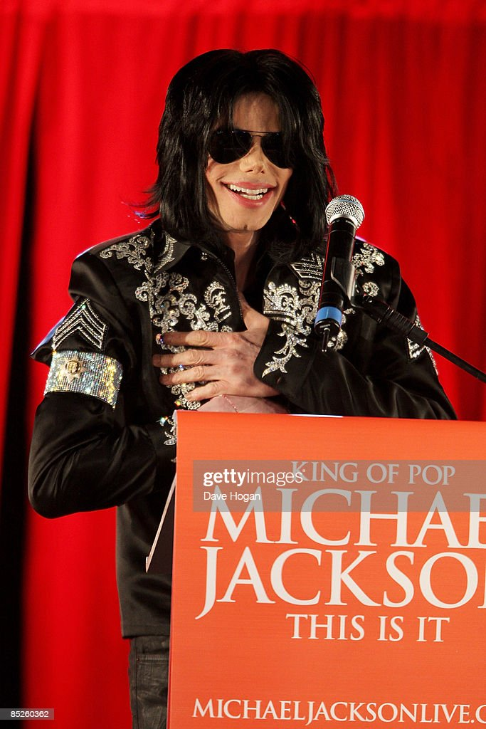 Michael Jackson attends a press conference to announce plans for a summer residency of concerts at the O2 Arena, Grenwich on March 5, 2009 in London, England.