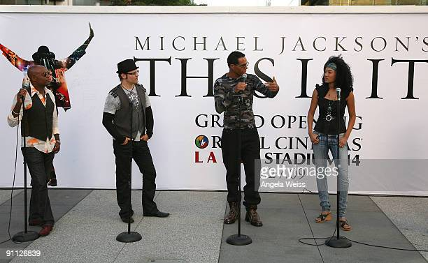 Michael Jackson backing vocalists Dorian Holley Ken Stacey Darryl Phinnessee and Judith Hill reunite at LA Live on the day fans began to line up for...