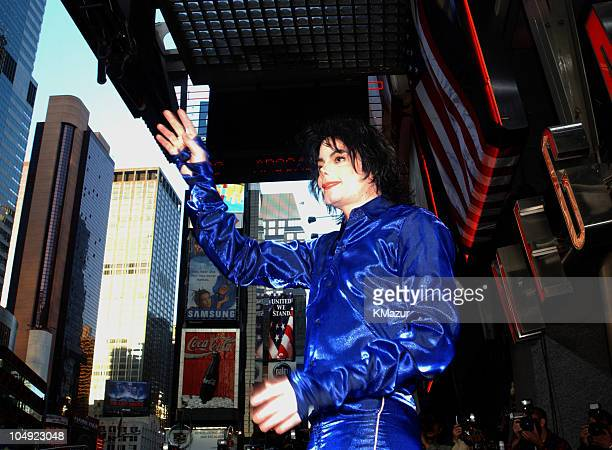 Michael Jackson during Michael Jackson FirstEver InStore Signing for His New Album 'Invincible' at Virgin Megastore Times Square in New York New York...
