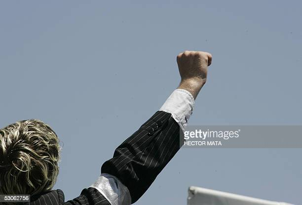 Michael Jackson fans rejoice after hearing the verdict outside the Santa Barbara County Courthouse 13 June 2005 in Santa Maria CA Superstar Michael...
