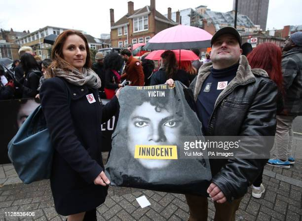 Michael Jackson fans stage a protest outside the headquarters of Channel 4 on Horseferry Road London ahead of the airing of the documentary Leaving...