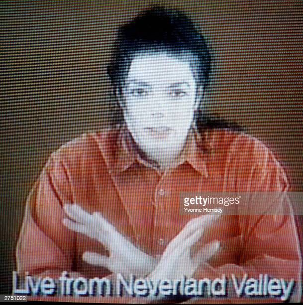 Michael Jackson goes on television on December 22 1993 in Los Olivos California to deny charges of child molestation Mr Jackson was responding to...