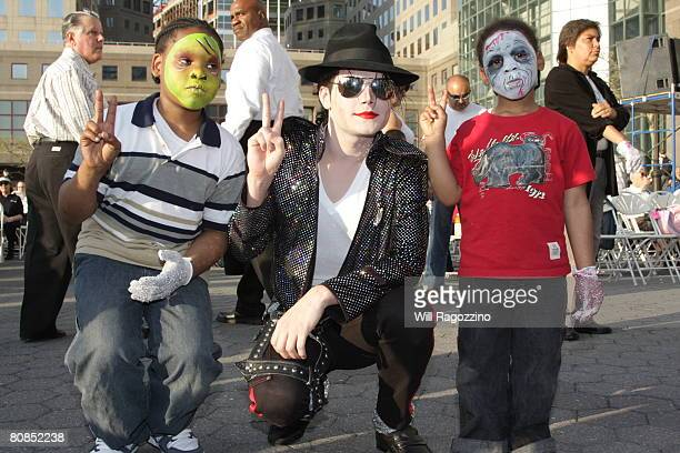 """Michael Jackson impersonator Pete Carter and Nyquest attend the drive-in presentation of """"Thriller"""" during the 2008 Tribeca Film Festival on April..."""