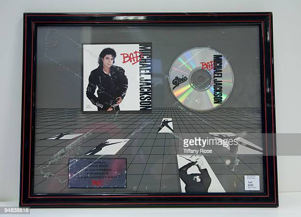 Michael Jackson inhouse award for his album Bad at the Auction Preview At Bonhams Butterfields on December 18 2009 in Los Angeles California