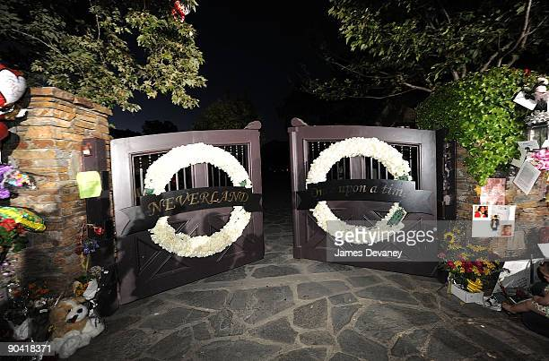 Michael Jackson is remembered outside Neverland Ranch on July 2 2009 in Los Olivos California