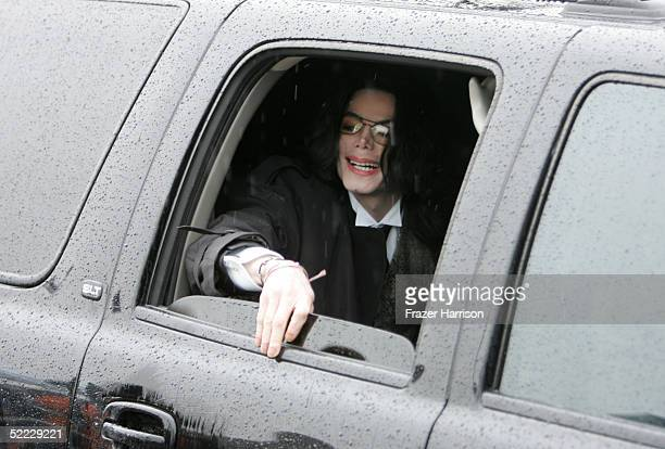 Michael Jackson leaves the Santa Barbara County Courthouse February 22 2005 in Santa Maria California Jackson made his first appearance in court...