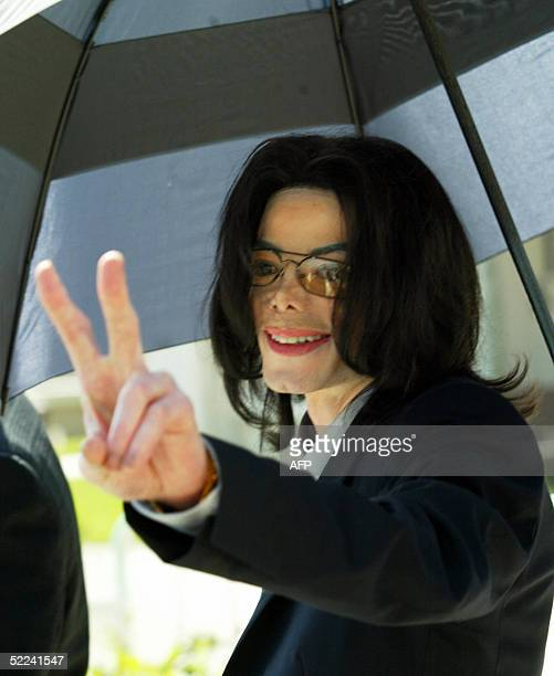 Michael Jackson leaving the Santa Barbara County Superior Court in Santa Maria California 25 February 2005 Opening statements in the case could begin...