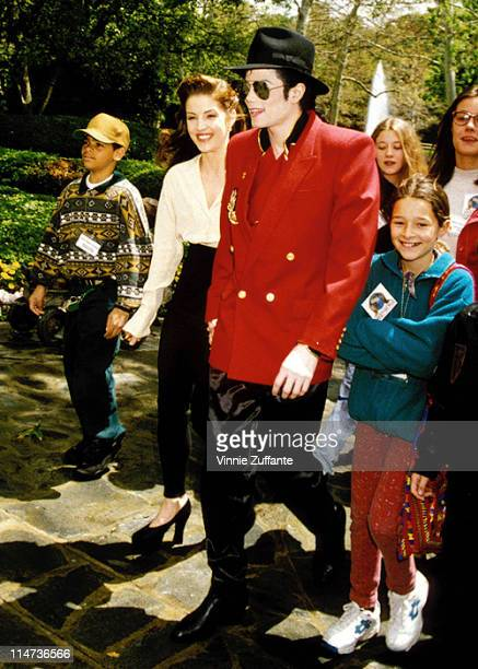 Michael Jackson Lisa Marie Presley attending a children's charity event in Los Angeles April 1995