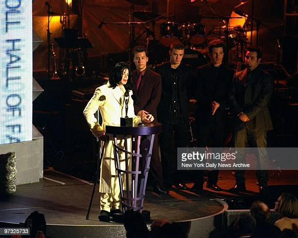 Michael Jackson makes his acceptance speech after being inducted into the Rock and Roll Hall of Fame for the second time this time as a solo artist...