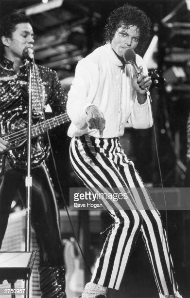 Michael Jackson of the Jackson Five performs on stage during the Jackson 5 Victory Tour at Arrowhead StadiumKansas City on the 6th of July 1984