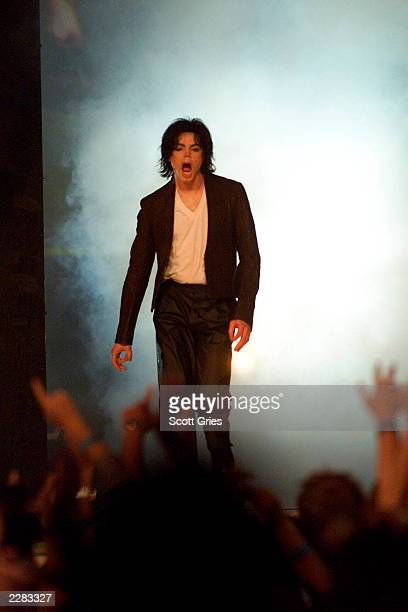 Michael Jackson onstage performing at the 2001 MTV Video Music Awards held at the Metropolitan Opera House at Lincoln Center in New York City on...