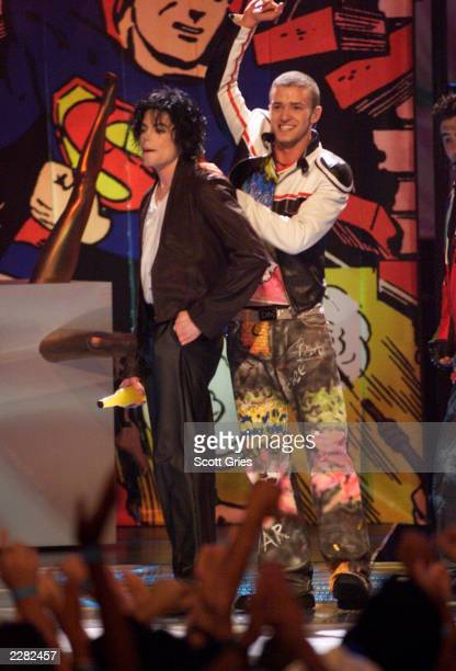 Michael Jackson onstage performing with Justin Timberlake at the 2001 MTV Video Music Awards held at the Metropolitan Opera House at Lincoln Center...