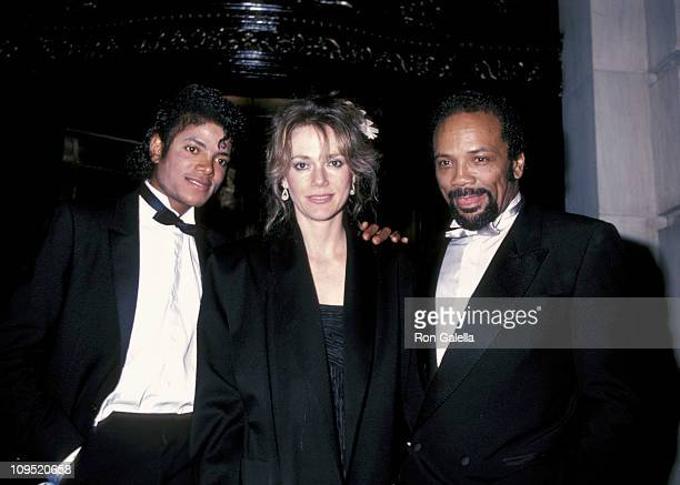 Michael Jackson Peggy Lipton and Quincy Jones during Steve Ross And Courtney Sale Wedding Reception 1982 at The Plaza Hotel in New York New York...