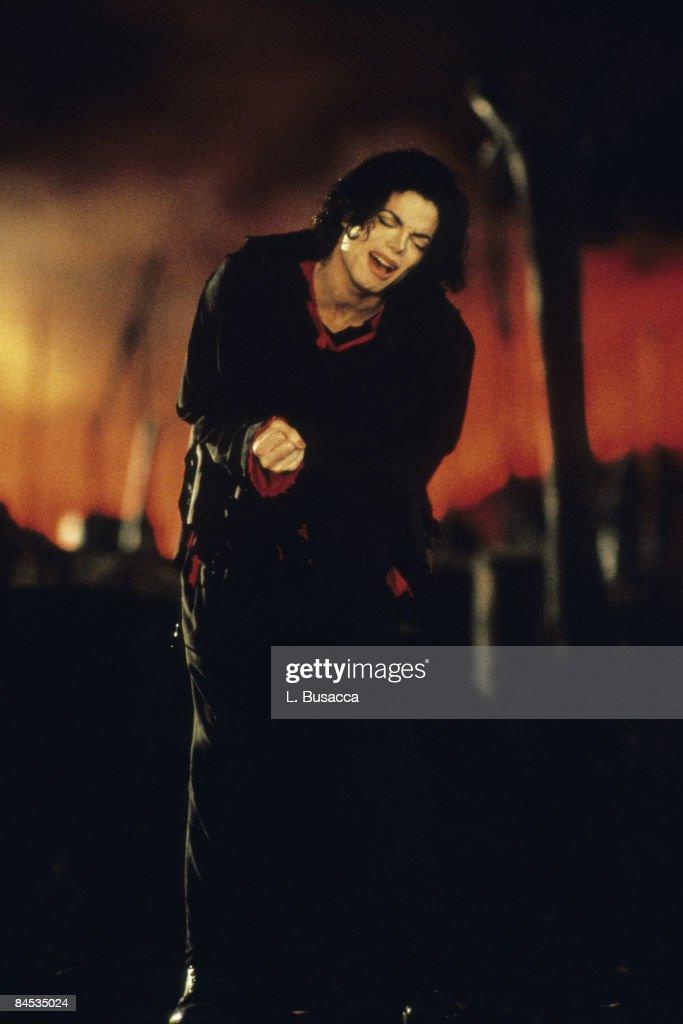 Michael Jackson perfoms in concert circa 1996 in New York City.