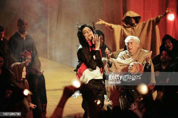 Michael Jackson performing at the Brit Music Awards at Earls Court Exhibition Centre in London, 19th February 1996.