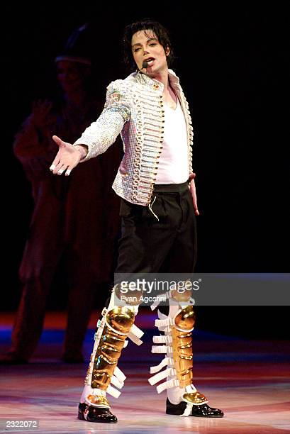 Michael Jackson performing at the Democratic National Committee's 'A Night at the Apollo' voter registration drive fundraiser at The Apollo Theater...