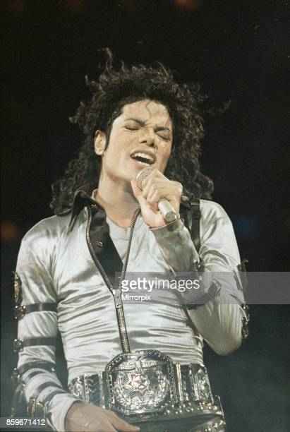 Michael Jackson performing on stage in concert at the Milton Keynes Bowl 10th September 1988