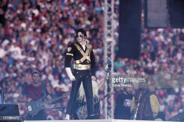 Michael Jackson performs during halftime of a 5217 Dallas Cowboys win over the Buffalo Bills in Super Bowl XXVII on January 31 1993 at the Rose Bowl...
