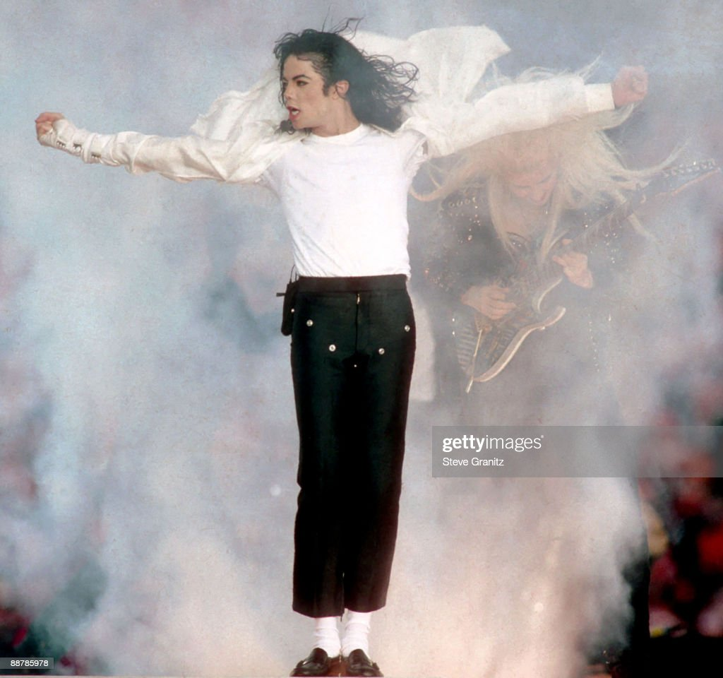 Michael Jackson performs during halftime of a 52-17 Dallas Cowboys win over the Buffalo Bills in Super Bowl XXVII on January 31, 1993 at the Rose Bowl in Pasadena California.