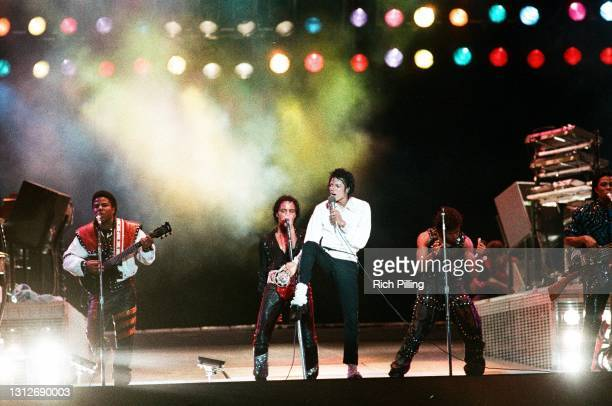 Michael Jackson performs during The Victory Tour at Giants Stadium on July 29, 1984 in East Rutherford, New Jersey