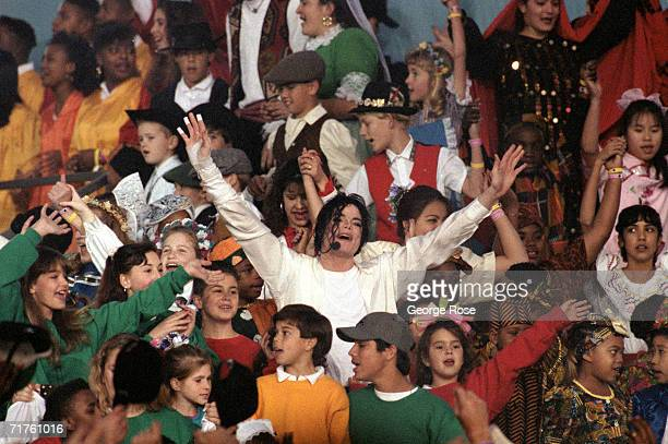Michael Jackson performs 'Heal the World' during the Halftime show as the Dallas Cowboys take on the Buffalo Bills in Super Bowl XXVII at Rose Bowl...