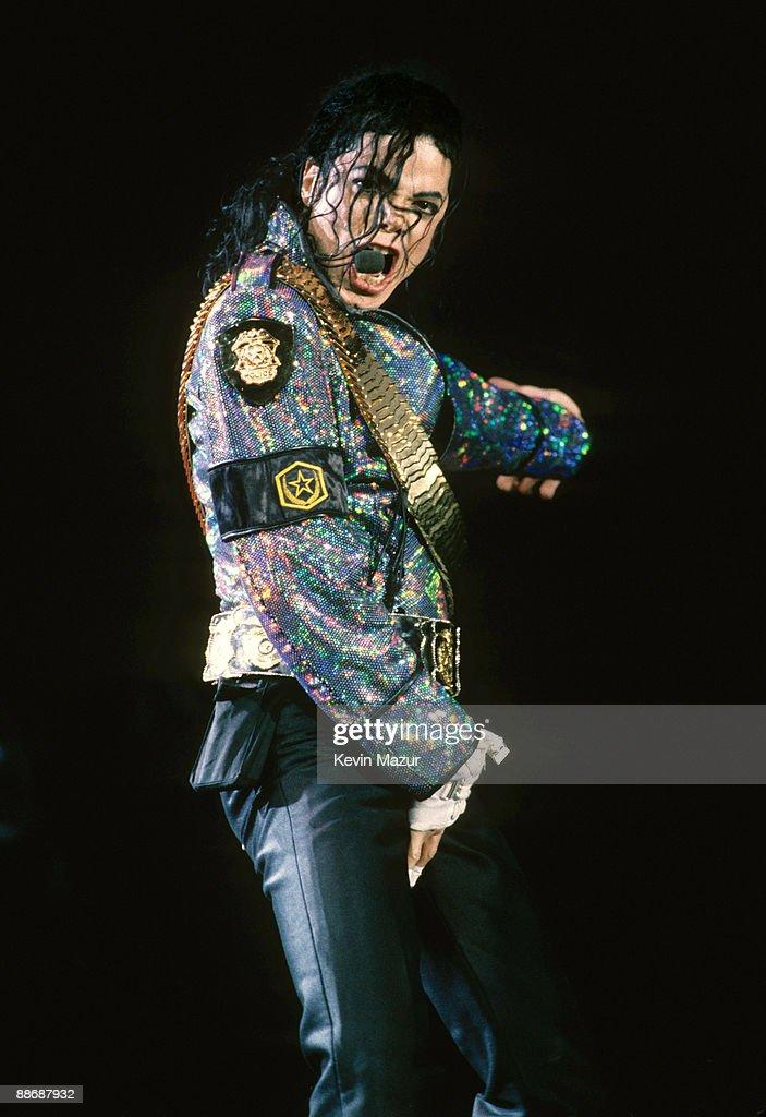 Michael Jackson performs in concert circa 1990.
