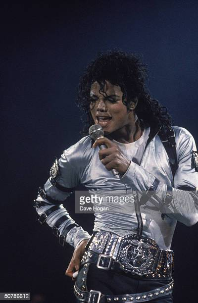 Michael Jackson performs on stage at Wembley Stadium during his BAD concert tour 15th July 1988