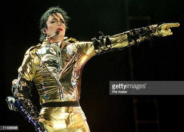 Michael Jackson performs on stage during is HIStory world tour concert at Ericsson Stadium November 10 1996 in Auckland New Zealand