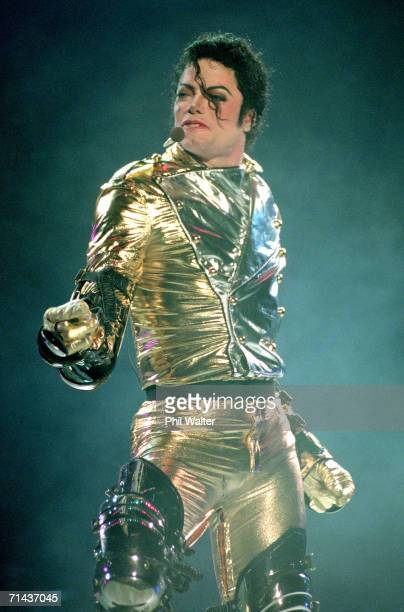 """Michael Jackson performs on stage during is """"HIStory"""" world tour concert at Ericsson Stadium November 10, 1996 in Auckland, New Zealand."""
