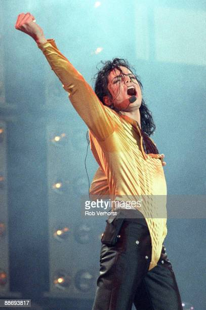 Michael Jackson performs on stage on the Dangerous World Tour at the Feijenoord Stadium on June 30th 1992 in Rotterdam Netherlands