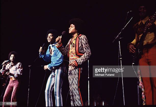 Michael Jackson performs on stage with the Jackson Five in London November 1972 LR Marlon Jackson Jackie Jackson Michael Jackson Jermaine Jackson