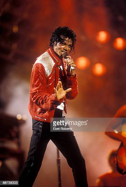 Michael Jackson performs on stage with the Jacksons on their Victory tour at the Giants Stadium in East Rutherford New Jersey on July 29th1984