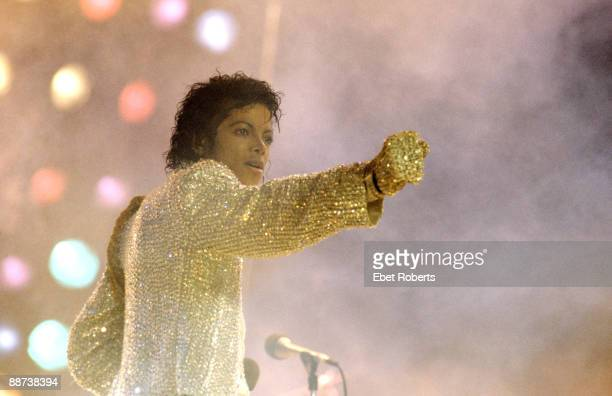 Michael Jackson performs on stage with the Jacksons on their Victory tour at the Rich Stadium in Buffalo New York on August 261984