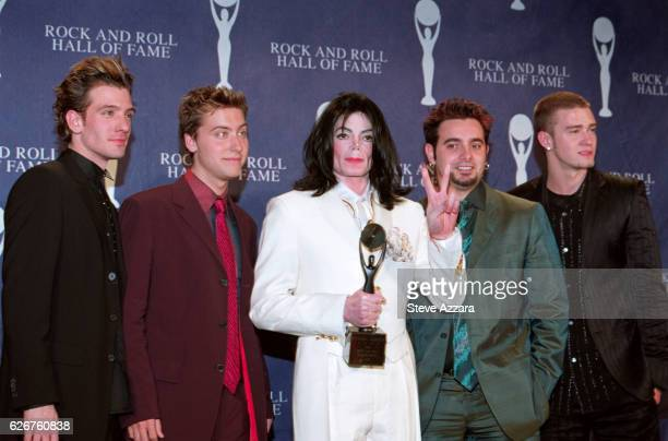 JC Chasez Lance Bass Chris Kirkpatrick and Justin Timberlake of *NSync at the 16th Annual Rock Roll Hall of Fame Induction Dinner