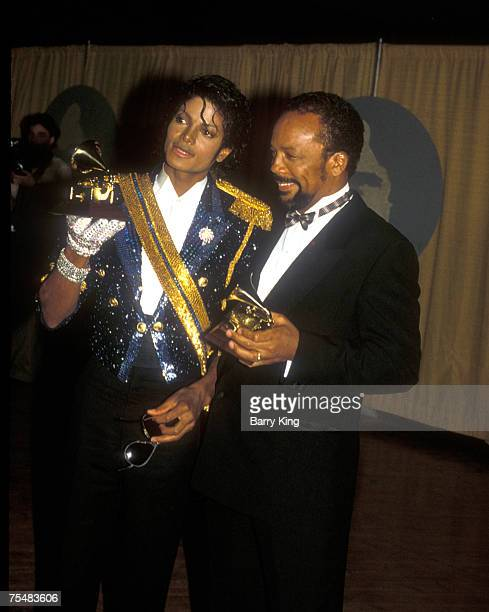 Michael Jackson Quincy Jones at the Grammys in Los Angeles California on February 28 1984 in Los Angeles California