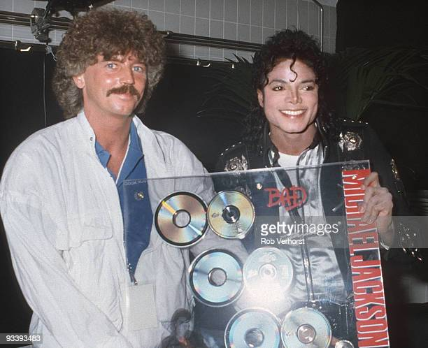 Michael Jackson receives an Award for CD 'Bad' from Ruud Röben just before his concert at the Feijenoord Stadium Rotterdam on June 05 1988