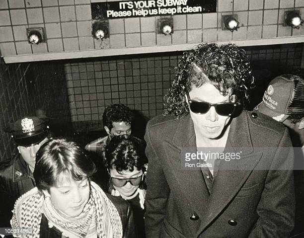 Michael Jackson Sean Lennon during Filming Video for Bad November 28 1986 at Brooklyn Subway in New York City New York United States