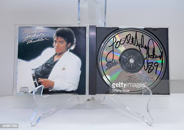 Michael Jackson signed Thriller compact disc at the Auction Preview At Bonhams Butterfields on December 18 2009 in Los Angeles California