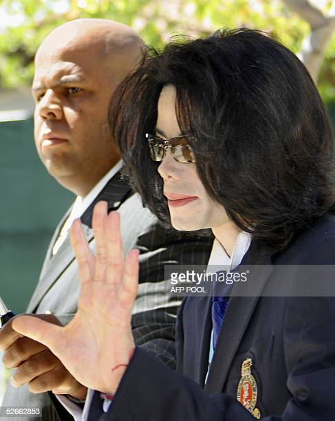 Michael Jackson waves as he departs the Santa Barbara County courthouse following testimony in his child molestation trial Wednesday April 20 2005 in...