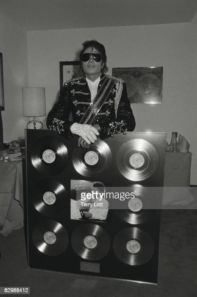 Michael Jackson whilst in London to accept a gold disc for the 'Thriller' album, London, 1983.